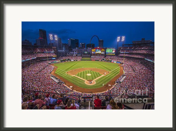 Busch Stadium Night Game Framed Print By David Haskett