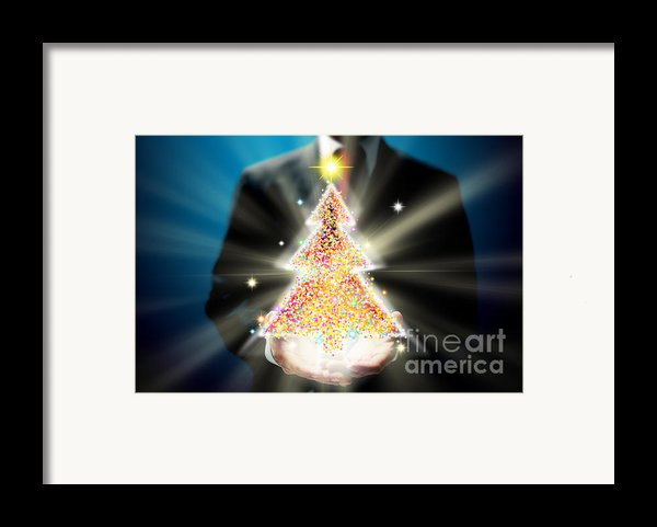 Bussinessman With Christmas Framed Print By Atiketta Sangasaeng
