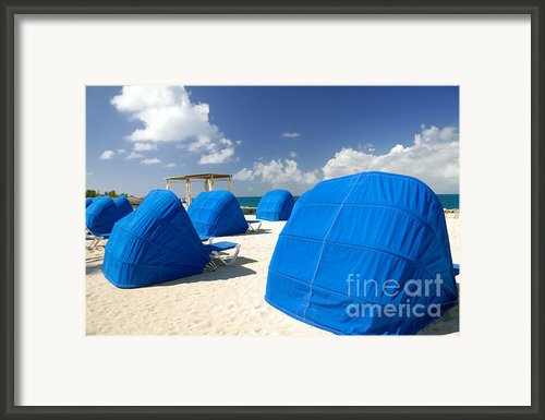 Cabanas On The Beach Framed Print By Amy Cicconi