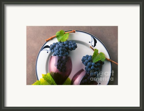 Cabernet Grapes And Wine Glasses Framed Print By Craig Lovell