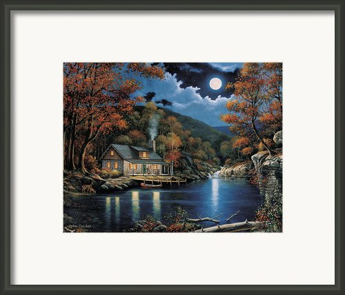 Cabin By The Lake Framed Print By John Zaccheo