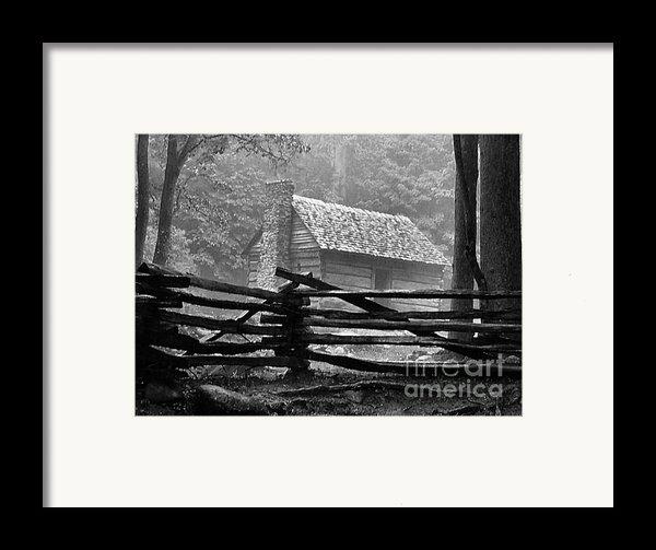 Cabin In The Fog Framed Print By Julie Dant