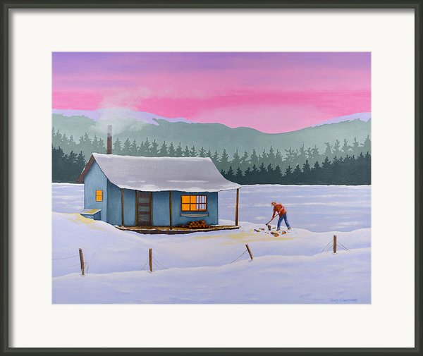 Cabin On A Frozen Lake Framed Print By Gary Giacomelli
