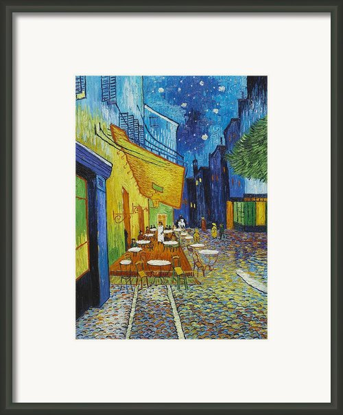 Cafe Terrace At Night Framed Print By Nomad Art And  Design