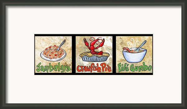 Cajun Food Trio Framed Print By Elaine Hodges