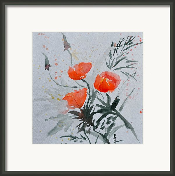 California Poppies Sumi-e Framed Print By Beverley Harper Tinsley