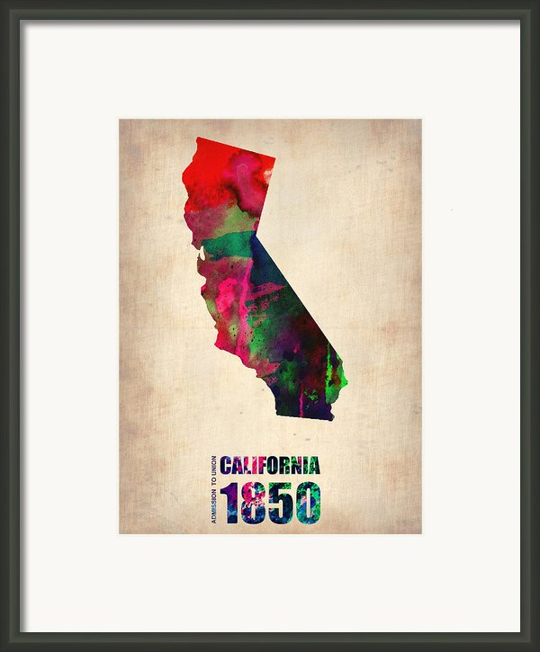 California Watercolor Map Framed Print By Irina  March