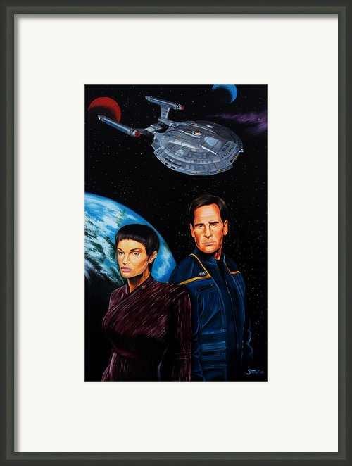 Captain Archer And T Pol Framed Print By Robert Steen