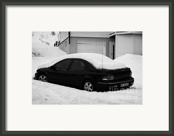 Car Buried In Snow Outside House In Honningsvag Norway Europe Framed Print By Joe Fox