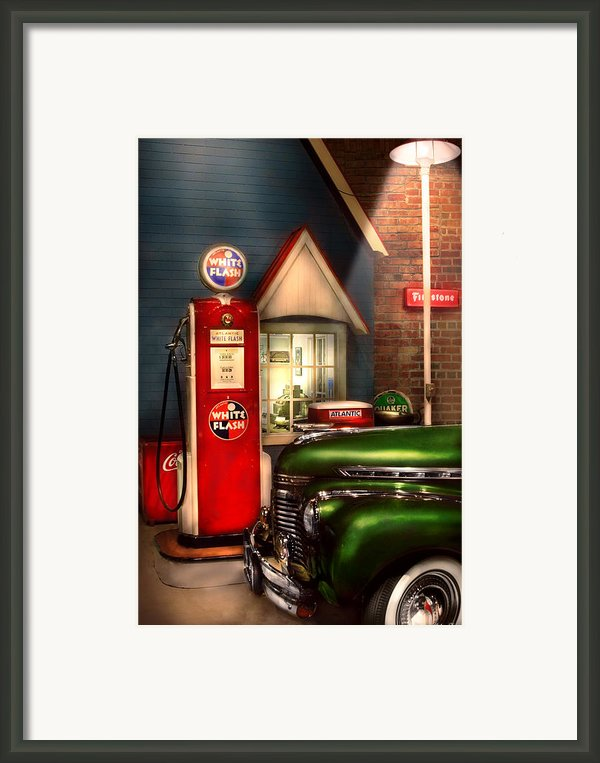 Car - Station - White Flash Gasoline Framed Print By Mike Savad