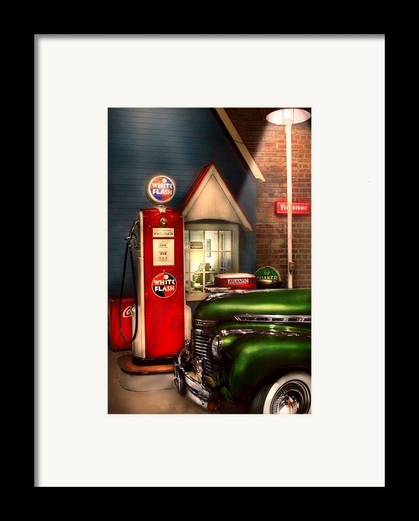 Car - Station - White Flash Gasoline Framed Print By Mike Savad