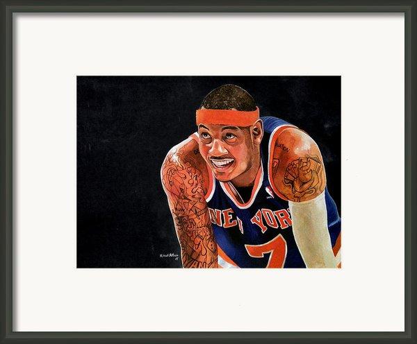 Carmelo Anthony - New York Knicks Framed Print By Michael  Pattison