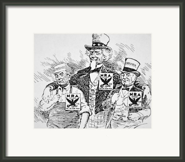 Cartoon Depicting The Impact Of Franklin D Roosevelt  Framed Print By American School