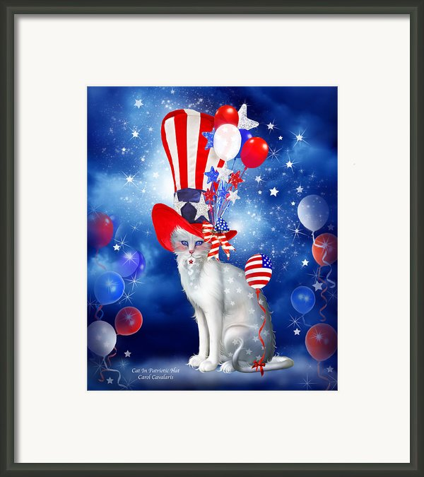 Cat In Patriotic Hat Framed Print By Carol Cavalaris