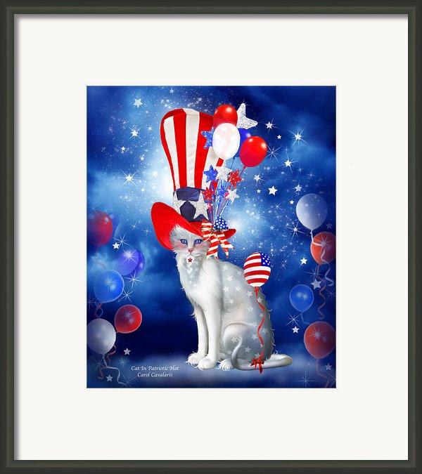 Cat In Patriotic Hat Framed Print By Carol Cavalaris