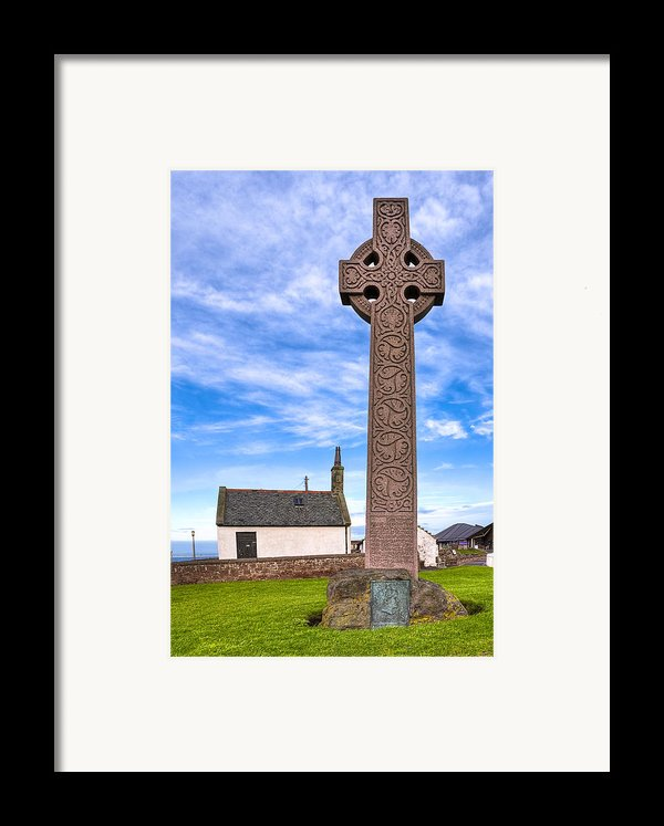 Celtic Cross On The Scottish Coast At North Berwick Framed Print By Mark Tisdale