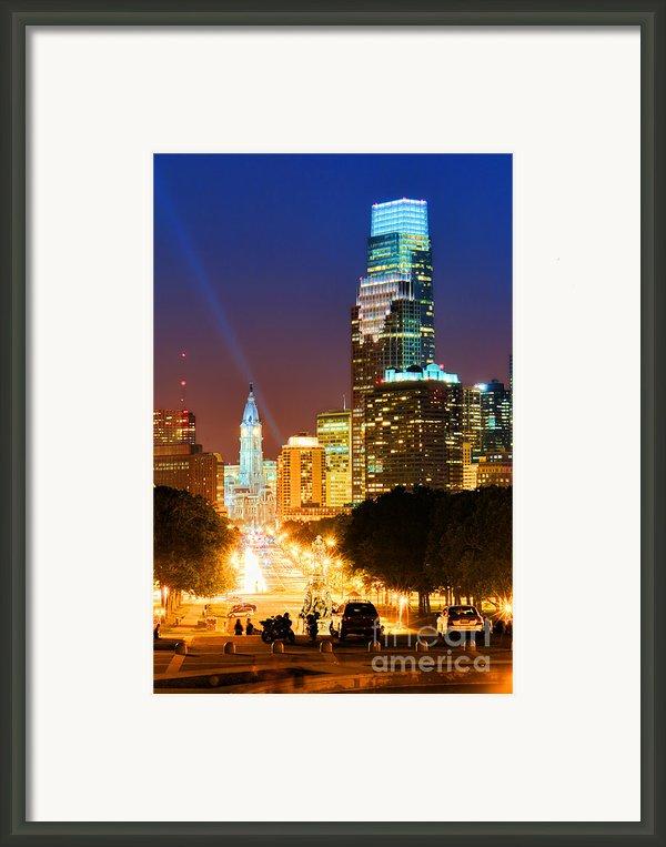 Center City Philadelphia Night Framed Print By Olivier Le Queinec
