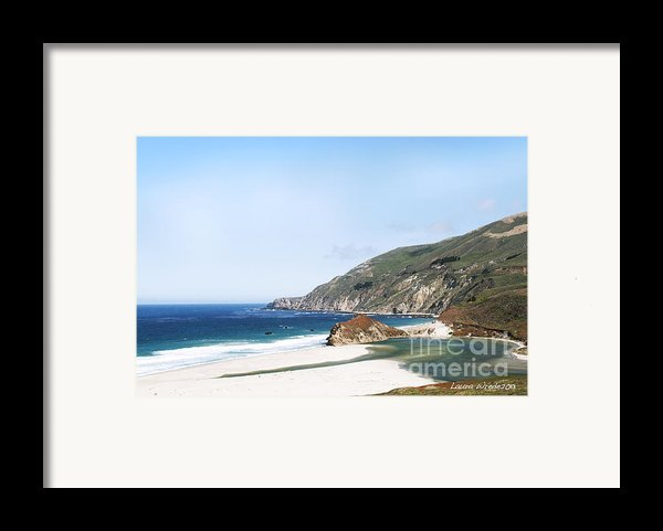 Central Coast Beach Near Cambria And San Simeon Framed Print By Artist And Photographer Laura Wrede