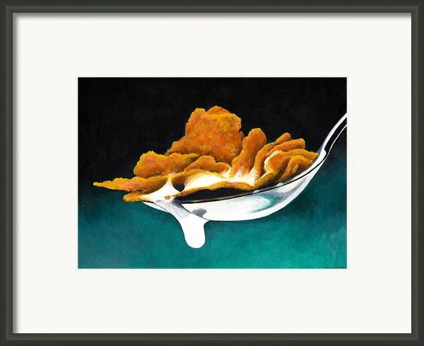 Cereal In Spoon With Milk Framed Print By Janice Dunbar