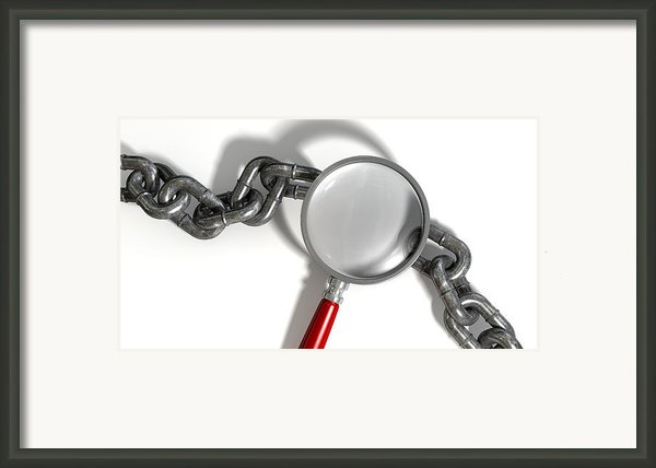 Chain Missing Link Magnifying Glass Framed Print By Allan Swart