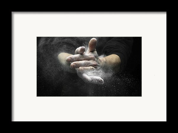 Chalked Hands, High-speed Photograph Framed Print By Science Photo Library