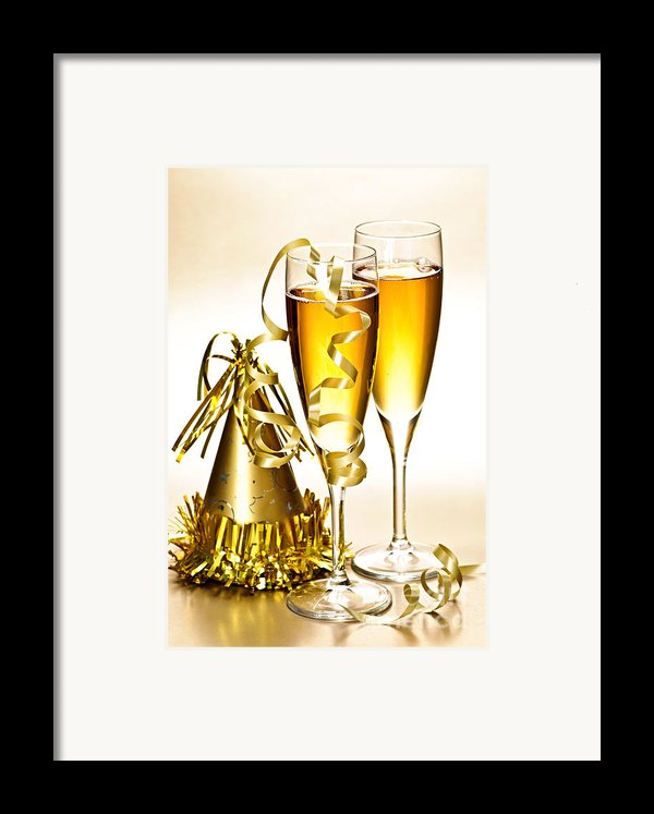 Champagne And New Years Party Decorations Framed Print By Elena Elisseeva