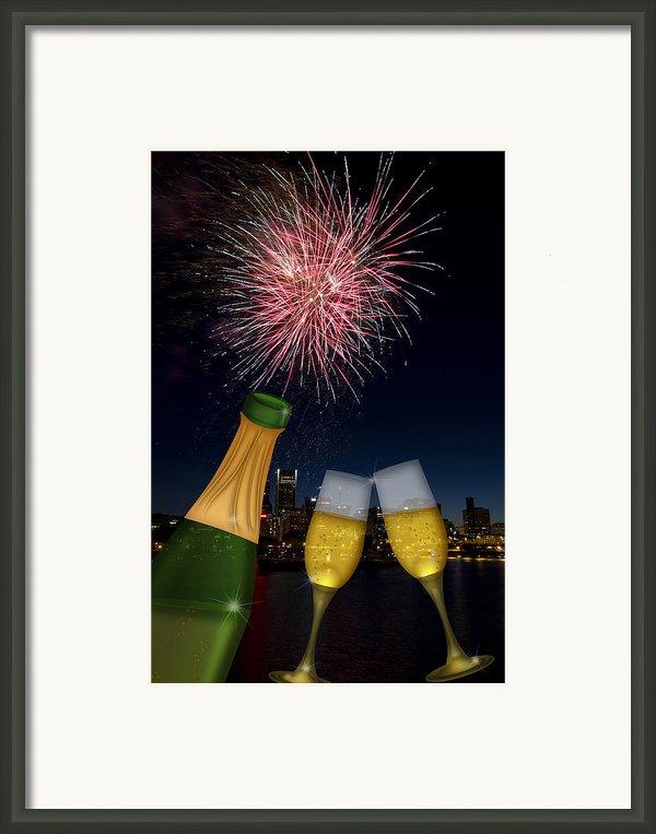 Champagne Toast With Portland Oregon Skyline Framed Print By Jpldesigns