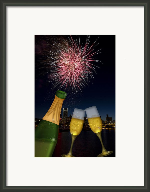 Champagne Toast With Portland Oregon Skyline Framed Print By Jpldesigns
