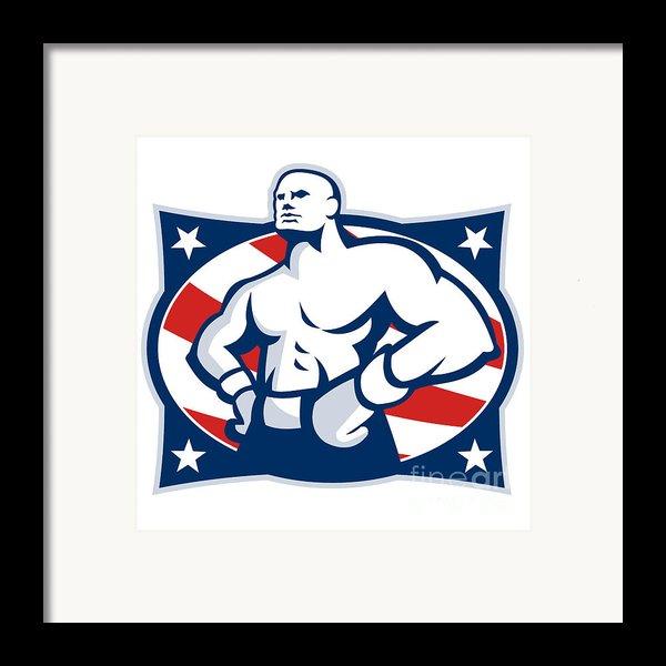 Champion American Boxer Akimbo Retro Framed Print By Aloysius Patrimonio