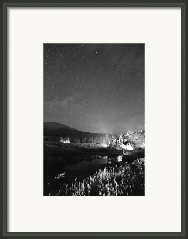Chapel On The Rock Stary Night Portrait Bw Framed Print By James Bo Insogna