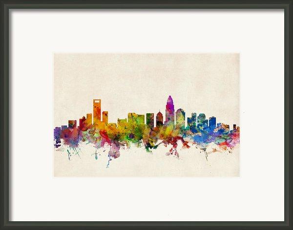 Charlotte North Carolina Skyline Framed Print By Michael Tompsett