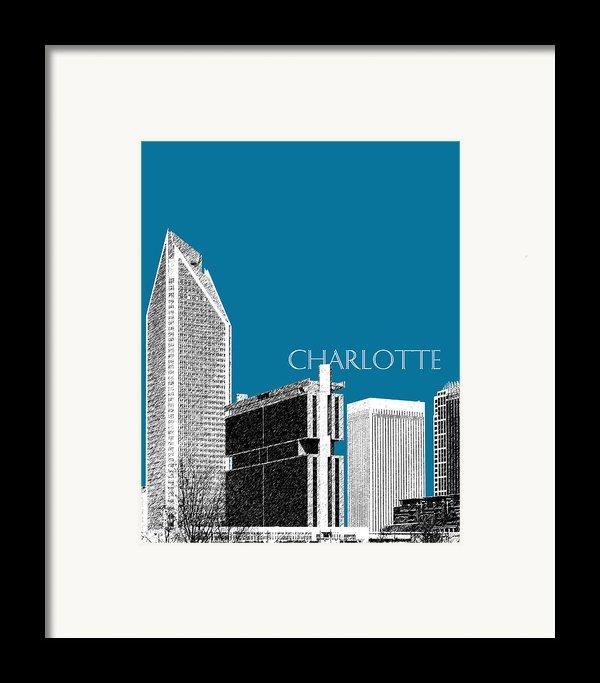 Charlotte Skyline 1 - Steel Framed Print By Db Artist