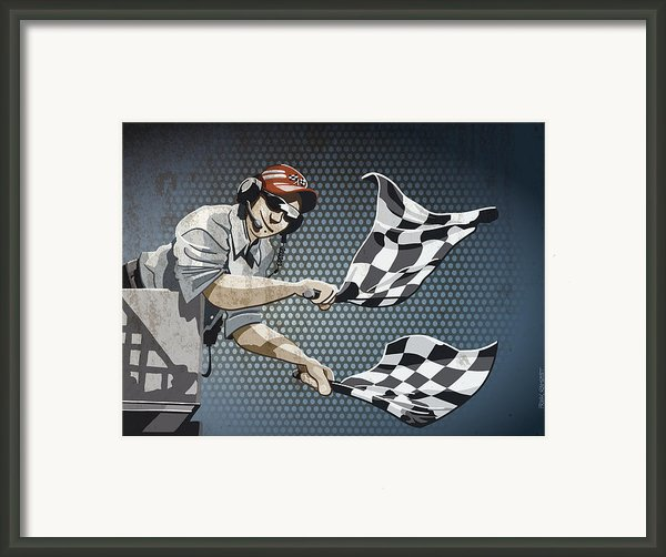 Checkered Flag Grunge Color Framed Print By Frank Ramspott