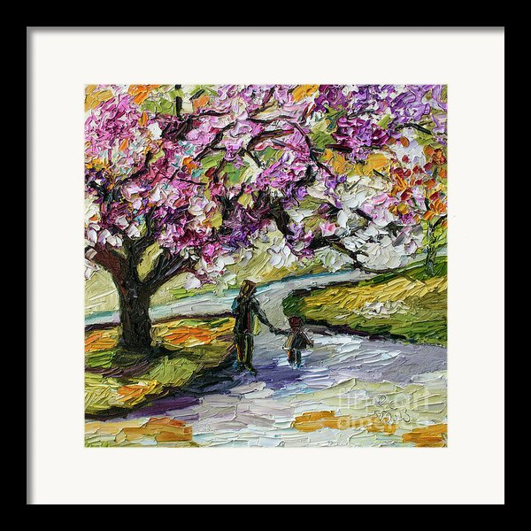 Cherry Blossom Tree Walk In The Park Framed Print By Ginette Callaway