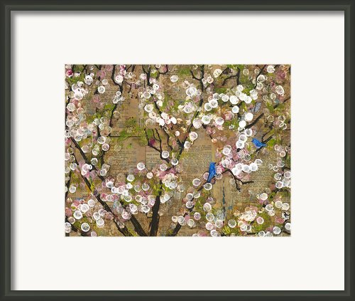 Cherry Blossoms And Blue Birds Framed Print By Blenda Studio