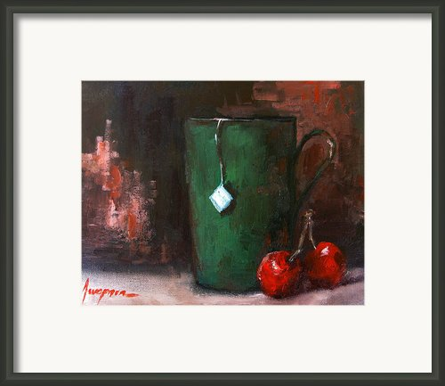Cherry Tea In Green Mug Framed Print By Patricia Awapara