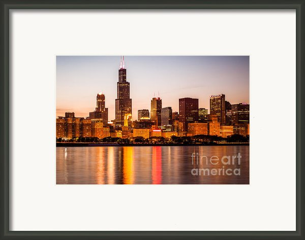 Chicago Downtown City Lakefront With Willis-sears Tower Framed Print By Paul Velgos