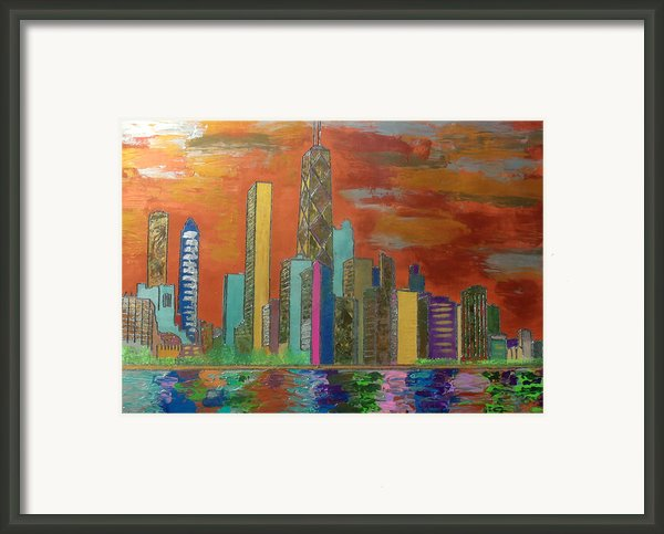 Chicago Metallic Skyline Framed Print By Char Swift