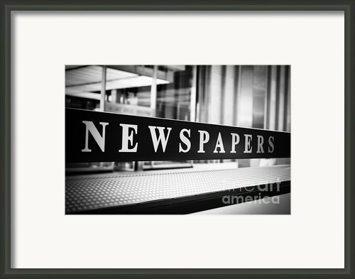 Chicago Newspapers Stand Sign In Black And White Framed Print By Paul Velgos