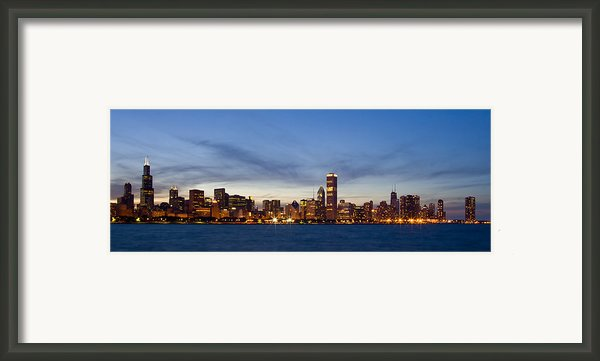 Chicago Skyline At Dusk Framed Print By Adam Romanowicz