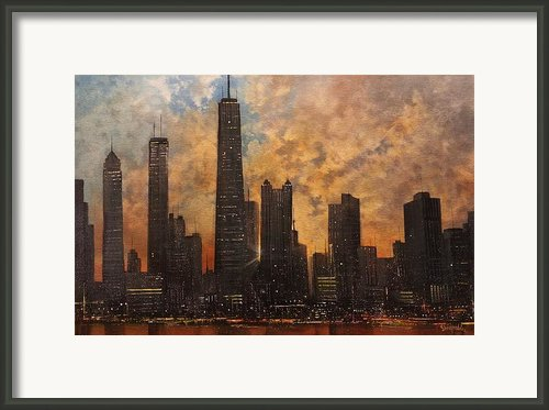 Chicago Skyline Silhouette Framed Print By Tom Shropshire
