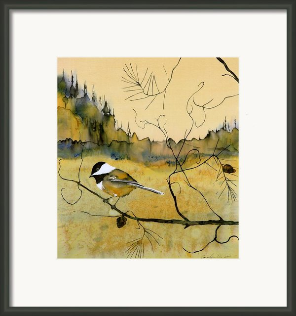 Chickadee In Dancing Pine Framed Print By Carolyn Doe