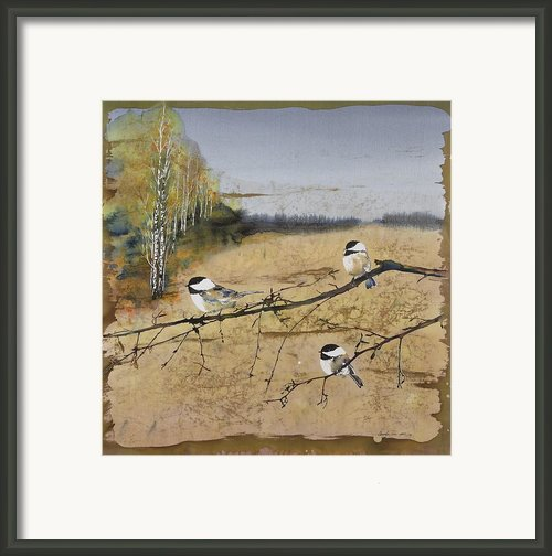 Chickadees And A Row Of Birch Trees Framed Print By Carolyn Doe