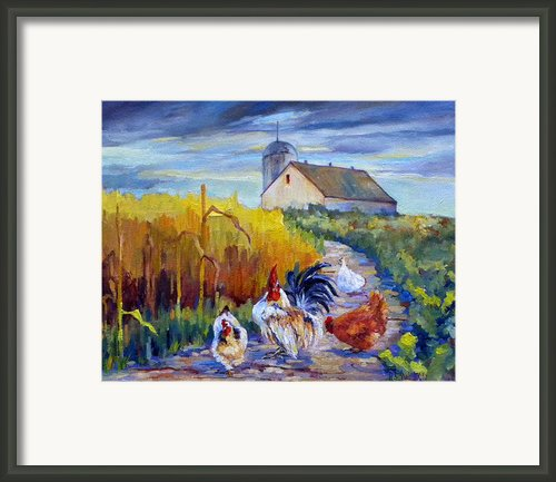 Chickens In The Cornfield Framed Print By Peggy Wilson