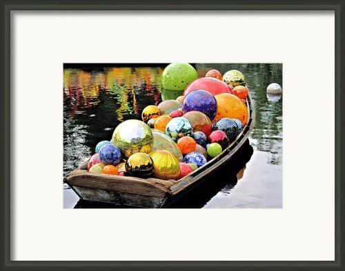 Chihuly Glass Floats In A Boat Framed Print By Elizabeth Budd