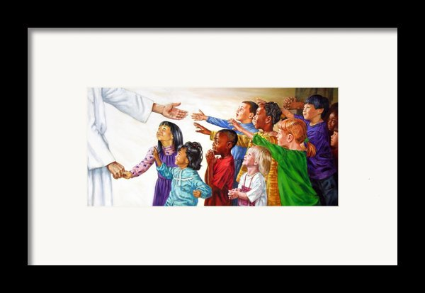 Children Coming To Jesus Framed Print By John Lautermilch