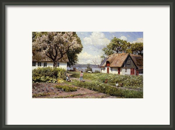 Children In A Farmyard Framed Print By Peder Monsted
