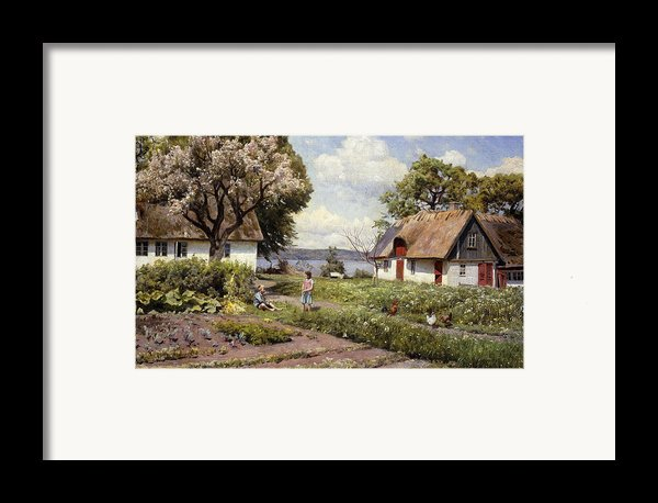 Children In A Farmyard Framed Print By Peder Monsted