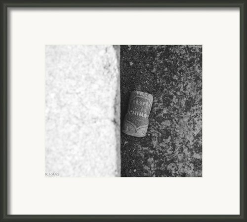 Chimay Wine Cork In Black And White Framed Print By Rob Hans