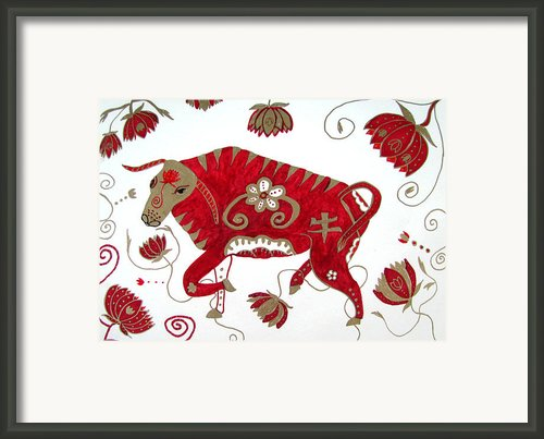 Chinese Year Of The Ox Framed Print By Barbara Giordano